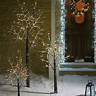 OUTDOOR 6ft 4ft 3ft PRE LIT LIGHT UP SNOW TWIG CHRISTMAS TREE CLEAR LED LIGHTS