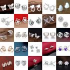 Women 925 Silver Crystal Rhinestone Ear Stud Earrings Fashion Jewelry