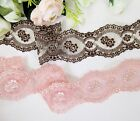 5 cm width Exquisite Coffee/ Salmon Pink Embroidery Mesh Lace Trim