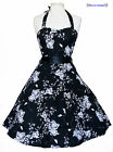 BLACK & WHITE FLORAL 1950S ROCKABILLY SWING RETRO VINTAGE PIN-UP PROM DRESS 8-18