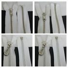 """1 white silver metal teeth SEPARATING zipper 15""""   17.5"""" OR  18"""" SHIP FROM USA"""