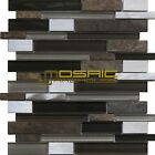 "Glass, Stone, and Metal Mosaic Tile, ""Litho Collection"" GM 3204 - Mixed Strip"