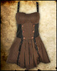 STEAMPUNK BLACK BROWN STRIPE MINI DRESS INTREPID COPPER COG KEYHOLE JAWBREAKER