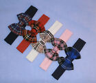 Girls Cotton Lycra Hair Band with Tartan Fabric Bow 6 Months to 8 years