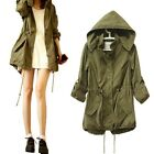 Winter Autumn Warm Women Green Military Parka Trench Long Hooded Coat Jacket B89
