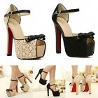 Fashion Womens Lace Open Peep Toe Bowknot High Heel Ankle Strap Shoes PU Leather