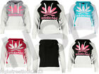 New Ladies Womens Hoodie Two Tone Leaf Addicted Print Sweatshirt Top S.M.L.XL