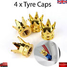 Gold Crown Car Wheel Tire Tyre Valve Dust Caps Covers Tire Set of 4 UK