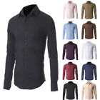 MEN'S SLIM FIT CASUAL BUTTON DOWN DRESS SHIRTS LONG SLEEVE 10 Colors Select