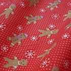 Christmas Fabric Gingerbread Men Snowflakes And Spots Polycotton Quilts crafts