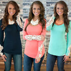 Sexy Fashion Womens Ladies Summer Lace Sleeve T Shirt Crew Tops Shirt Blouse