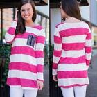 Women Lady Casual Long Sleeve T Shirt Cotton Loose Round Neck Blouse Tops S-XL