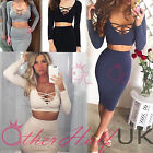 UK WOMENS ZIGZAG BANDAGE BODYCON COCKTAIL LADIES 2 PIECE PARTY DRESS SIZE 6 - 14