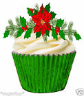 24 x CHRISTMAS FLOWER FOLIGE GARLAND -  STAND UPS Edible Wafer Cup Cake Toppers