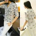 New Sexy Ladies Womens Print Top Chiffon T Shirt Casual Button Blouse Collared I