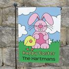 Personalized Happy Easter Garden Flag Easter Bunny Welcome Banner Yard Decor