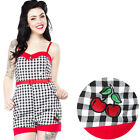 Sourpuss Gingham Cherry Playsuit Pin Up Rockabilly Retro Jumpsuit Romper Cute