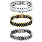 "13MM Men Stainless Steel Ceramic Magnetic Health Cuff Bangle Biker Bracelet 8.1"" image"