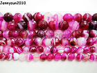 Natural Agate Gemstone Faceted Round Beads 15.5'' 6mm 8mm 10mm Pink With Stripe