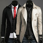 Mens Stylish Formal Windbreaker Long Trench Jacket Double Breasted Overcoat Coat