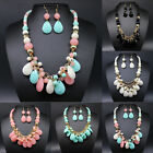 Lackingone New Charm Resin Water Drop Beads Pendant Necklace Earring Set #10F