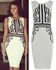 LADIES WOMENS CELEBRITY KEEGAN PRINTED MIDI BODYCON PARTY DRESS TOP S M L XL