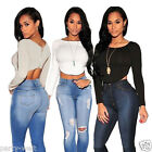 Women Casual Long Sleeve Deep V Neck Sexy Blouse T-shirt Ladies Crop Blouse Top