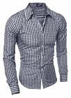 Mens Point collar Slim Fit Long Sleeve Button Down Plaid Shirt