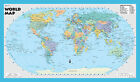 "2016 World Wall Map Robinson Projection - 21""x36"" Rolled Paper or Laminated Blue"
