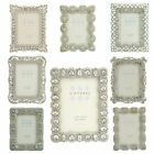 "Vintage Shabby Chic silver photo frames with beads & crystals 3.5""x2.5"" picture."