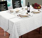 LUXURY WHITE WOVEN JACQUARD TABLECLOTHS OR ACCESSORIES WEDDING BIRTHDAY XMAS
