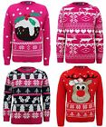 KIDS KNITTED SNOW TREE REINDEER PUDDING CHRISTMAS XMAS NOVELTY JUMPER TOP 3-14