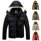 HOT Mens Winter Coats Casual Hooded Jacket Cotton Padded Outwear Warm Parka Tops