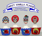 Day of the Dead Sugar Skulls Birthday Party EDIBLE Cupcake Toppers cup cake