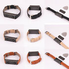 Black/Beige/Brown Leather Wristband With Black Metal Housing For Fitbit Flex