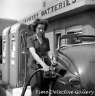 Woman Pumping Gas at Sears Station, Louisville, KY -1943- Historic Photo Print