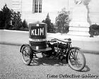 Vintage Motorcycle with Milk Ad on Sidecar - circa 1920 - Historic Photo Print