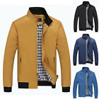 Men Checker Outwear Coat Slim Zip Up Coats Jackets Casual Fashion Jacket