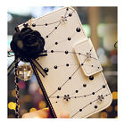 Dust plug+Bling Diamonds Flower Leather Card Strap Flip Wallet Phone Case Cover