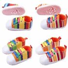 1pair Rainbow Shoes Baby Infant Boy Girls Toddler Prewalker Crib Shoes 0-12M Fit