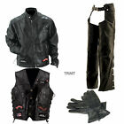 Mens Genuine Buffalo Leather Motorcycle Jacket Chaps Vest w/14 patches & Gloves