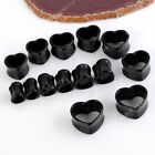 Pair 12-22mm Black Acrylic Heart Flared Ear Tunnel Plugs Expander Stretcher Punk