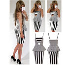 Womens Stripe Print Celeb Monochrome Strappy Party Cut Out Peplum Midi Dress
