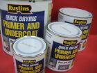 RUSTINS QUICK DRYING PRIMER & UNDERCOAT GREY VARIOUS SIZES