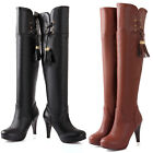 HOT Womens Shoes Synthetic Leather High Heels Zip Up Over Knee Boots US All Size
