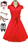 50s Style RED Cap Sleeve Collared SODA FOUNTAIN Lucy PINUP Shirt Dress w/Sash