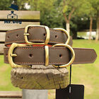 Brown Genuine Leather Dog Collar Real Authentic Tough CowHide Collar Neck Buckle