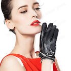 Women's Ladies Black Winter Genuine Lambskin Leather Gloves For Women Elegant
