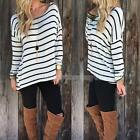 Sexy Womens Stylish Black White Stripe Long Sleeve T-shirt Tops Tee Blouse Hot