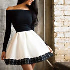 Sexy Women Off Shoulder Casual Lace Long Sleeve Evening Party Short Mini Dress